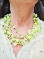 Vintage Green Bugle Bead & Green Bead Multi Strand Necklace