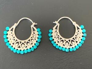 925 Sterling Silver Hoops Earrings Turquoise Gemstone Filigree Ethic Tribal