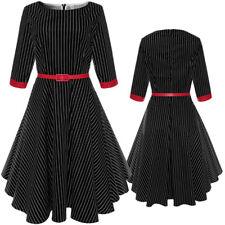 Women 3/4 Sleeve Vintage Style 1950s Retro Casual Evening Party Swing Belt Dress