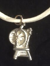 """Spinning Wheel TG306A Fine English Pewter On 18"""" White Cord Necklace"""