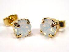 SoHo® Ohrringe Ohrstecker geschliffene Kristalle white opal Strass weiß gold 925