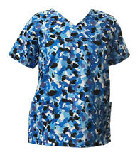 Women's Fashion Nursing Scrub Tops Printed Medical Uniforms Blue Black White L