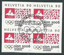 1998 SVIZZERA USATO OLIMPIADI INVERNALI DI SION QUARTINA - P37-7