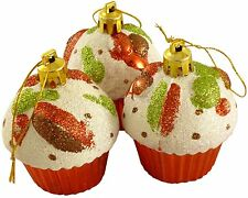 Cupcake Ornaments, Set of 3 Christmas Tree Glittery Baubles Decorations - Red