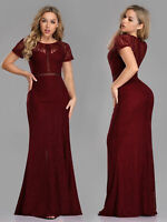 Ever-pretty Long Lace Burgundy Cocktail Party Dress Homecoming Mermaid Prom 7752