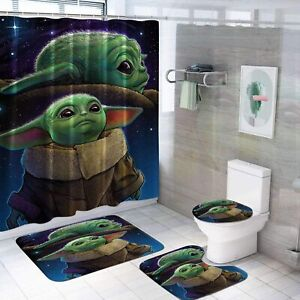 Star Wars Baby Yoda 4Pcs Bathroom Rugs Shower Curtain Bath Mat Toilet Lid Cover