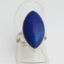 Natural Lapislazuli ANILLO PLATA 925 Joyas de piedras preciosas azul gr.13/53