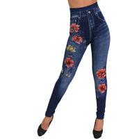 Pantalon de Jogging Slim Femme Broderie Fleur S-XL
