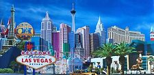 Las Vegas Sign Strip Hotels Framed Canvas Wall Print Art Paris MGM New York