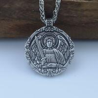 St. Michael Archangel Catholic Patron Medal Alloy Metal Pendant Chain Necklace