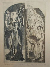 1978 Abstract print figures crucifiction signed