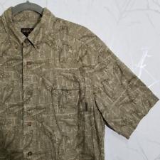 Woolrich Men's Tan Newspaper Print Short Sleeve Shirt w/ Fish | Size M