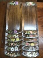 Set of 12 Vintage Hand Painted Flowers by Francesca Lap / TV / Serving Tray