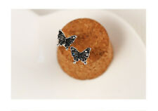 New 925 Sterling Silver Black Pretty Butterfly Stud Earrings Antique Style Gift