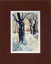 Watercolor Original Painting a Day Landscape Winter  by Elena Mezhibovsky