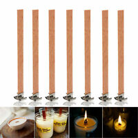 100Pcs 13mm x 130mm Candle Wood Wick With Sustainer Tab Candle Making Supplies