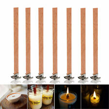 10Pcs 13mm x 130mm Candle Wood Wick With Sustainer Tab Candle Making Supplies