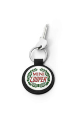 New MINI Genuine Keyring Vintage Logo Key Chain Fob Split Ring Cowhide Leather