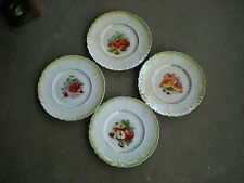 """4 Vintage 8.5"""" Opalescent Fruit Plates Apples Cherries Strawberry Melons"""