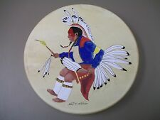 "Hand Painted Rawhide Drum 17"" x 3"" Signed and Numbered"