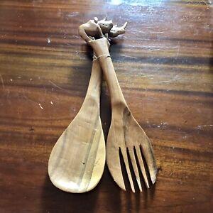 South African Hand Carved Wooden Rhinoceros Salad Serving Spoon & Fork Utensils