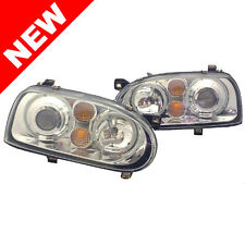 VW GOLF 3 ECODE ANGEL EYE HALO PROJECTOR HEADLIGHTS-CHROME MK3 MKIII