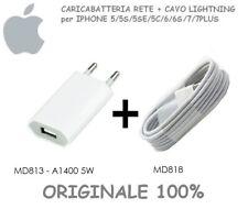 Caricabatteria ORIGINALE+Cavo Apple Lightning ORIGINALE 1MT per iPhone 5 6S 7 8