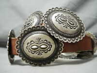 VERY HEAVY VINTAGE NAVAJO HAND TOOLED STERLING SILVER CONCHO BELT OLD