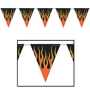 MOTORBIKE HARLEY MOTORCYCLE STYLE CHOPPER FLAME BUNTING FOR BIRTHDAY PARTIES!