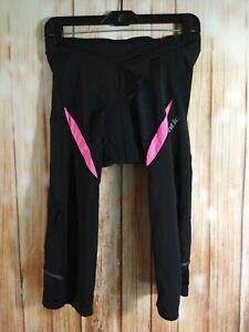 NWOT women's SANTIC black & pink padded riding / biker leggings - SIZE LARGE