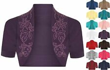 Womens Cotton Sequin Beaded Cap Short Sleeve Shrug Bolero Cardigan Top Size 8-26