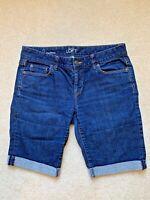 Ann Taylor LOFT womens Denim blue Bermuda Shorts cuffed Size 2