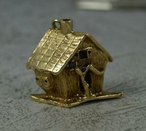 Heavy Solid 9ct Gold and Garnet House Charm or Pendant