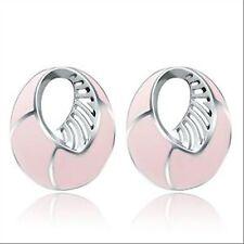 Boucles d'oreilles clous en acier 316L et epoxy rose, bijou femme ou ado neuf