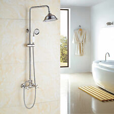 "Brushed Nickel Bath 8""Round Shower Faucet Dual Knobs Mixer Tap W/Hand Shower"