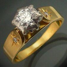 Vintage 60s Hi-set 18k Solid Yellow GOLD PLATINUM DIAMOND RING Val=$3705 Sz L1/2