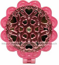 ULTA* Compact FOLDING MIRROR Flower Shaped PINK HEARTS Travel/Purse RHINESTONE