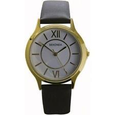 Sekonda 3023 Gents Quartz Analogue Gold Plated, Leather Strap Watch RRP £39.99