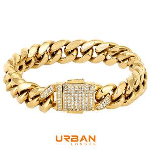 Men's Cuban Durable Urban Street-Wear Hip Hop Bracelet 12 mm18k Gold Silver Curb