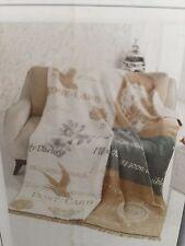 New in box AKSU Plush Cotton Blanket Alexa Natural Beige Cream White DB 180x220
