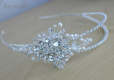 DESIGNER ART DECO headdress, Gatsby Side tiara with PEARL Crystal and diamantes