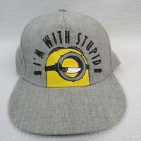Minion I'M with Stupid Mens Baseball Hat Cap Gray Adjustable