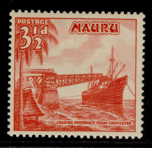 NAURU GV SG50, 3½d scarlet, M MINT.