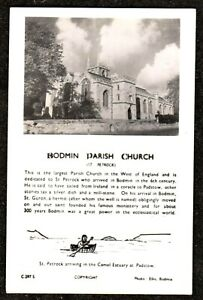 1950 BODMIN PARISH CHURCH ST PETROC GEORGE ELLIS REAL PHOTO POSTCARD c.297.s