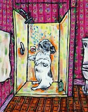 French Bulldog fine art bathroom bather modern folk 4x6 dog Glossy Print