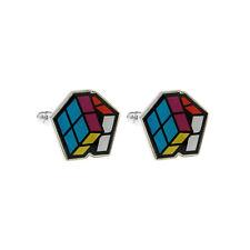 Rétro 80s Puzzle Cube Boutons Manchette Neuf avec Étiquette / Boite Cadeau Style
