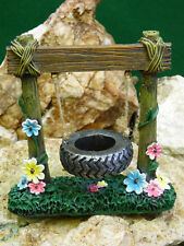 Fairy Garden Miniature Doll House Tire Swing with vibrant flowers NEW FREE SHIP
