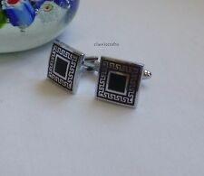 Silver tone brass/copper France style square simple Cufflinks Dia 16mm
