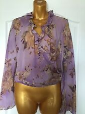 Marks & Spencer Per Una Ladies Lilac Floral Tie Sheer Blouse Size 12 BRAND NEW