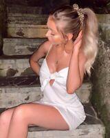 MOTEL ROCKS Roppan Slip Dress in Satin Ivory  (MR8.4)